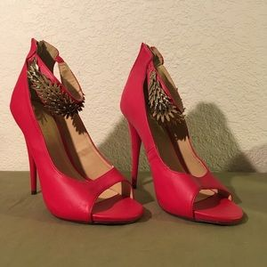 Liliana Red with metal bling,high heel , Size 7.5